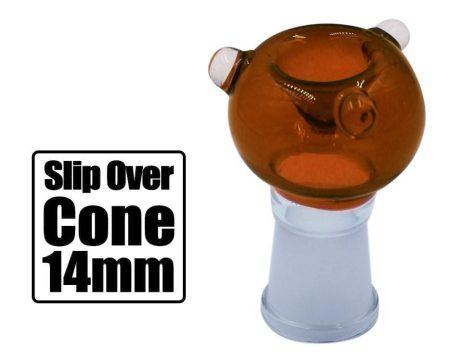 Amber 14mm Slip Over Cone Piece