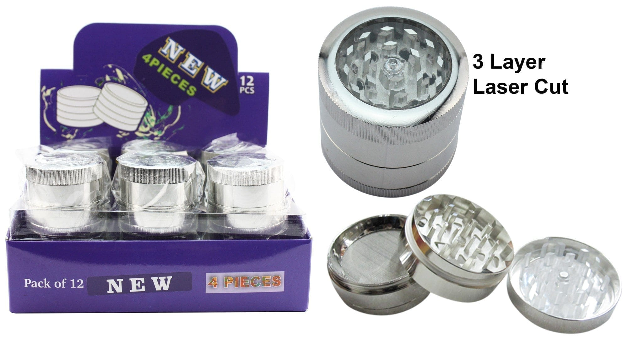 3 Piece Stainless Steel Grinder With Storage