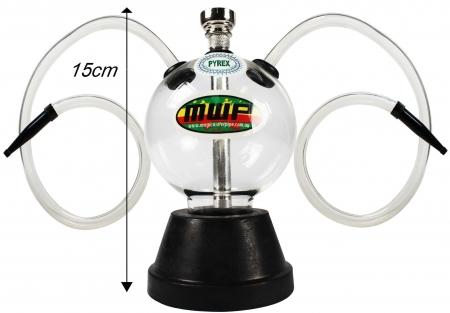 Bubble Glass Hookah - Twin Hose (15cm)