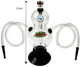 Double Bubble Glass Hookah - Twin Hose (21cm)