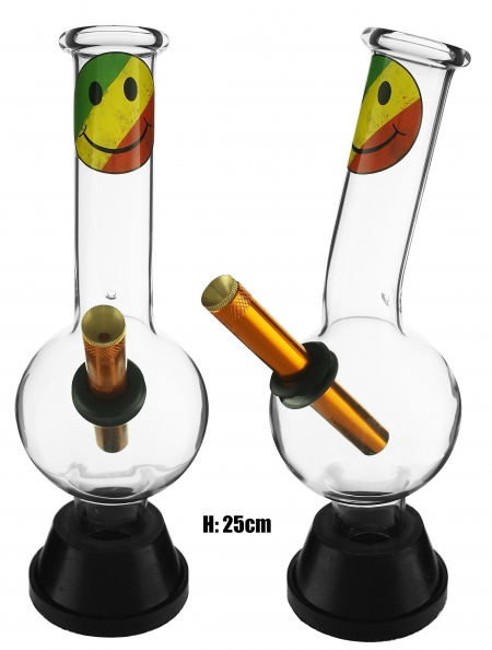 Medium Glass Bonza Bubble - Smiley Face