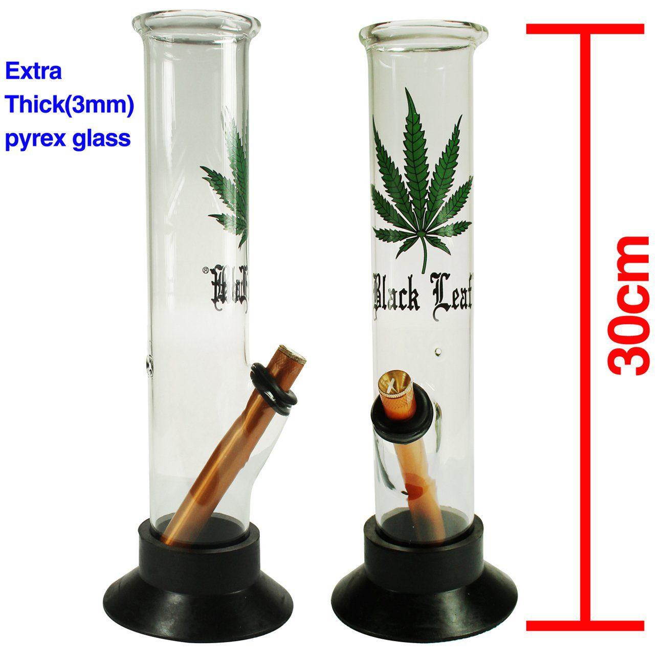 Black Leaf Glass Waterpipe (30cm)