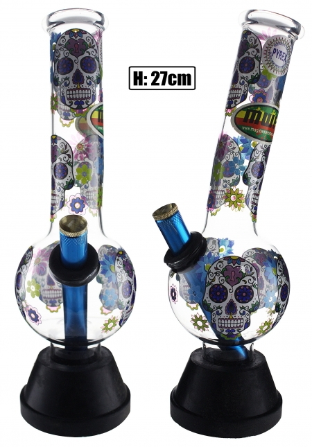 Medium Glass Bent Bonza - Candy Skull 27cm