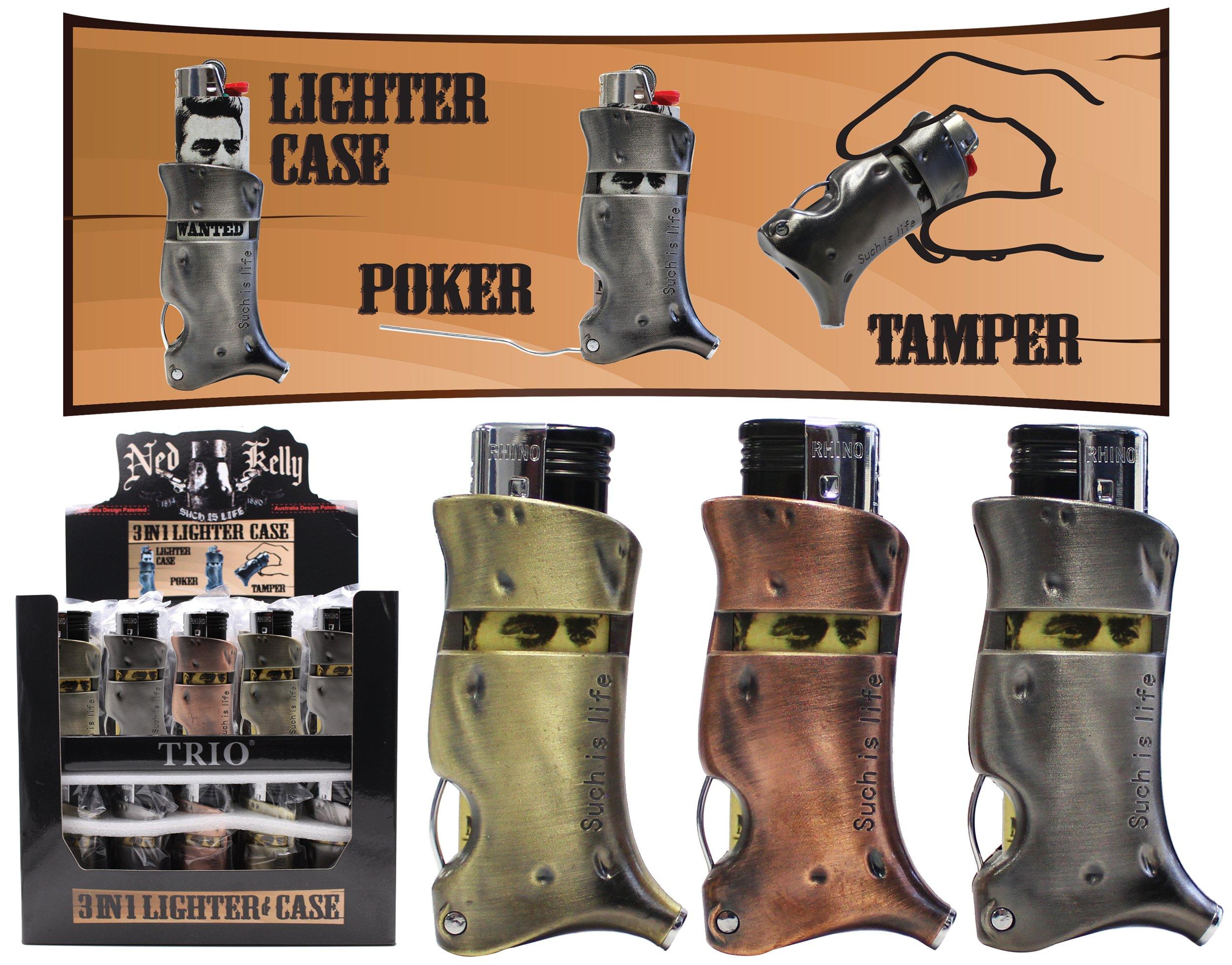 Ned Kelly 3 In 1 Lighter / Case / Stoker