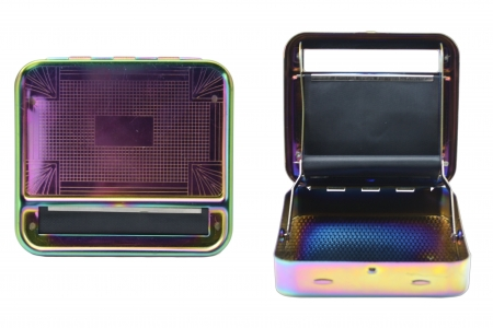 Metal Roller & Tobacco Case - Rainbow