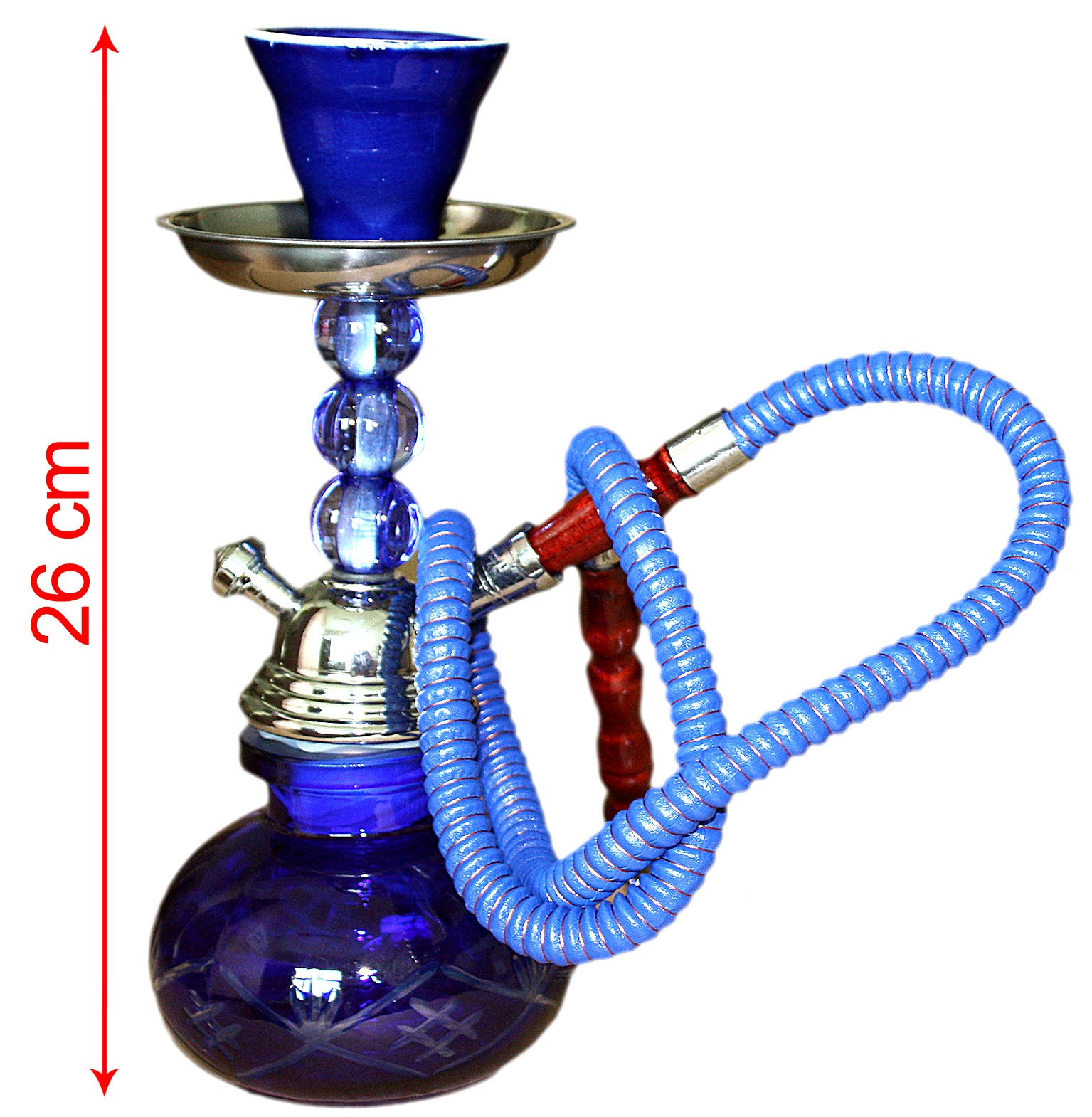 Hookah Blue, Crystal Stem Pumpkin (26cm)