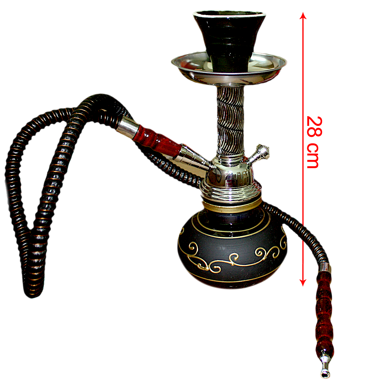 Hookah Black With Gold Base Metal Stem Pumpkin (28cm)
