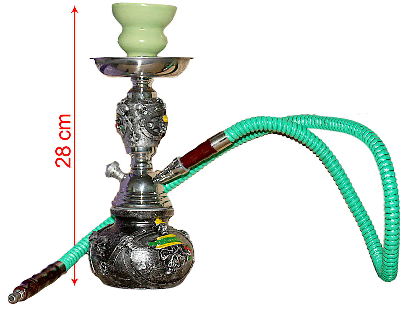 Hookah Resin Skull Base Metal & Resin Stem Single Hose (28cm)