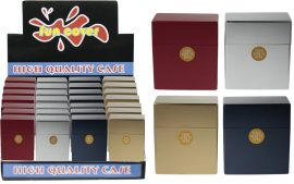 Metallic Colour Auto Open Plastic Cigarette Case (fits 50 Cigarette)