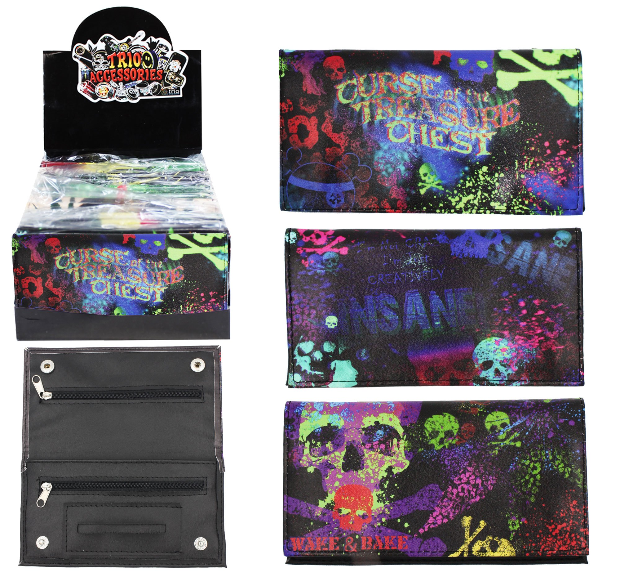 Psychedelic Skull PU Tobacco Pouch 25g