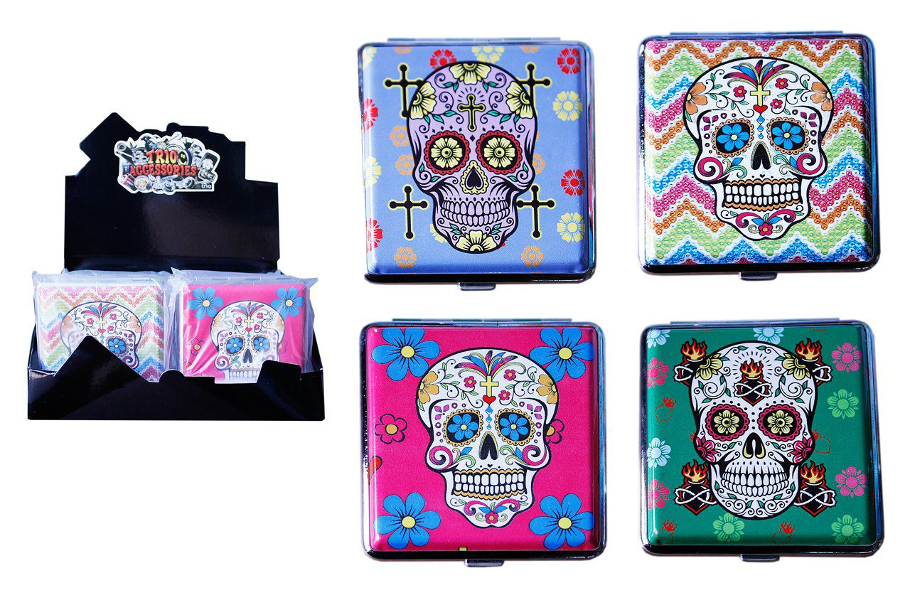 Candy Skulls Cigarette Case - Holds 20