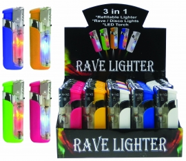 3 In 1 Windproof Lighter With Flashing Lights &  LED Light