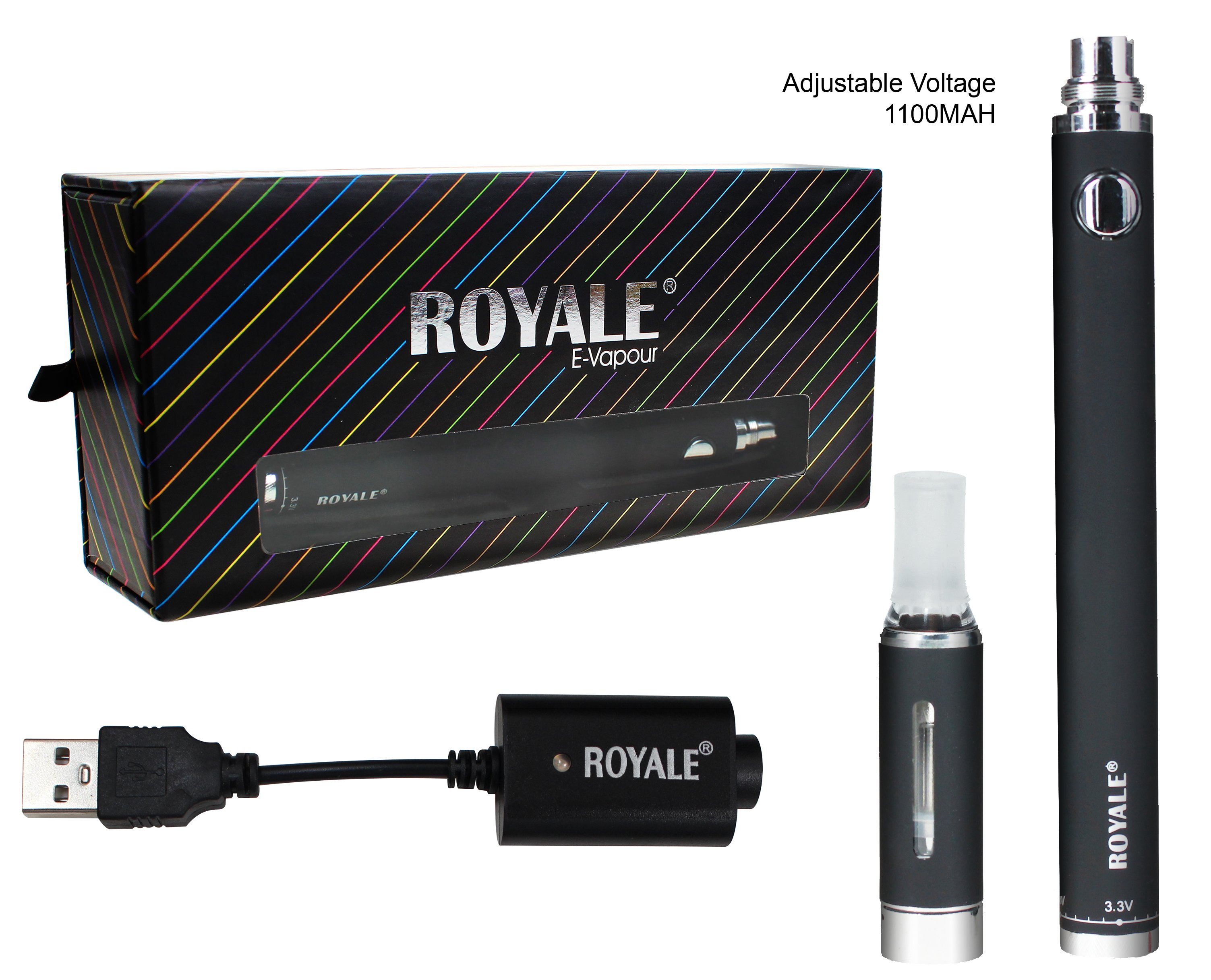 Royale Premium Adjustable Multi Voltage E-vapour  (1100 MAH)