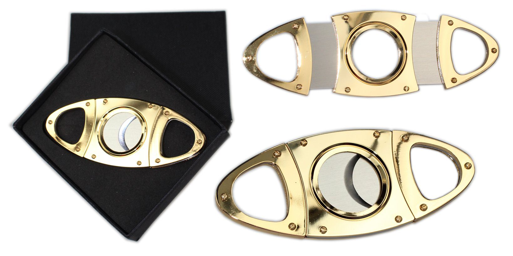 Premium Gift Box Gold Plated Cigar Cutter