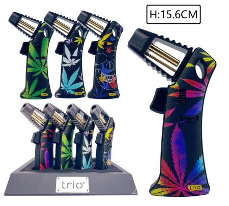 Trio Premium Rocket Flame Lighter - Coloured Leaf