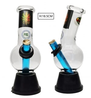 Small Glass Bonza Bubble - Rasta Leaf